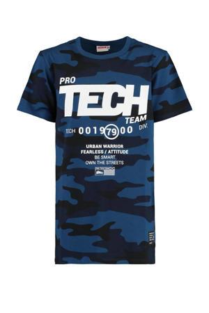 T-shirt Erwyn met camouflageprint donkerblauw/zwart/wit