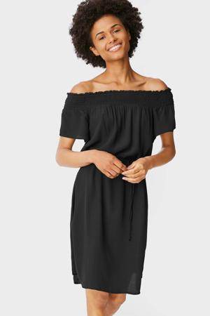 off shoulder jurk met plooien zwart