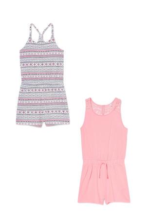 jumpsuit - set van 2 roze/zwart/wit
