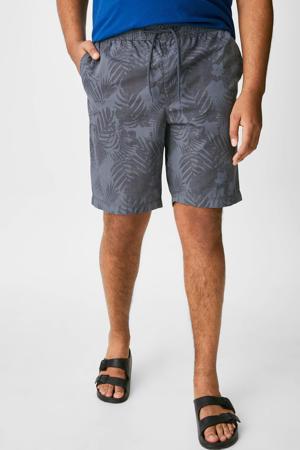 regular fit short met bladprint grijs