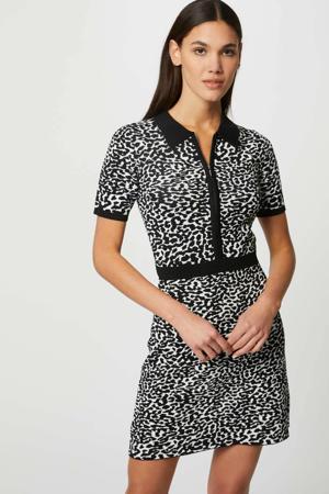 gebreide jurk in jacquard dierenprint zwart/wit