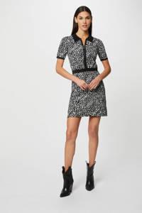 Morgan gebreide jurk in jacquard dierenprint zwart/wit, Wit/zwart