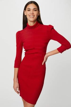 ribgebreide jurk met plooien rood