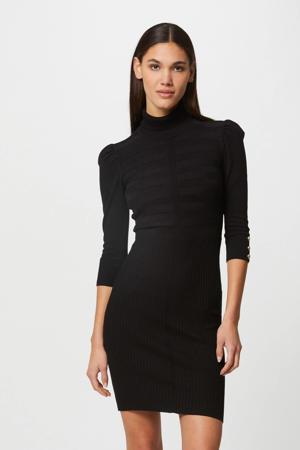 ribgebreide jurk met plooien zwart/goud