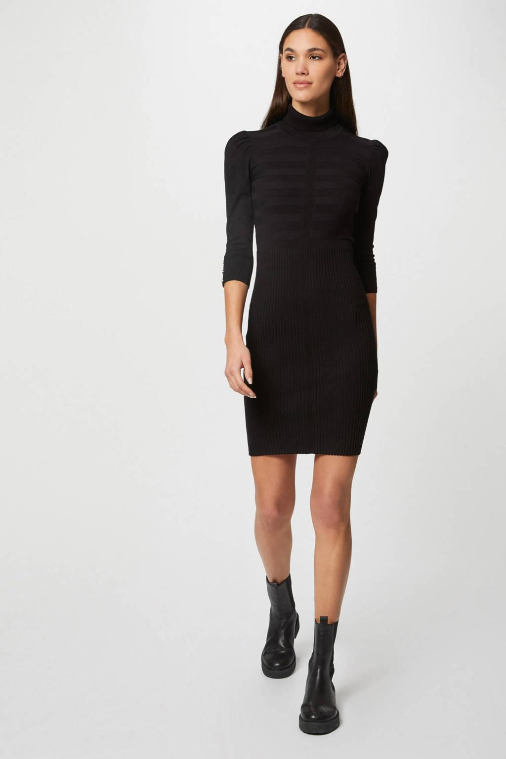 Morgan ribgebreide jurk met plooien zwart/goud, Zwart/goud