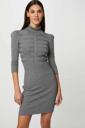 ribgebreide jurk met plooien grijs