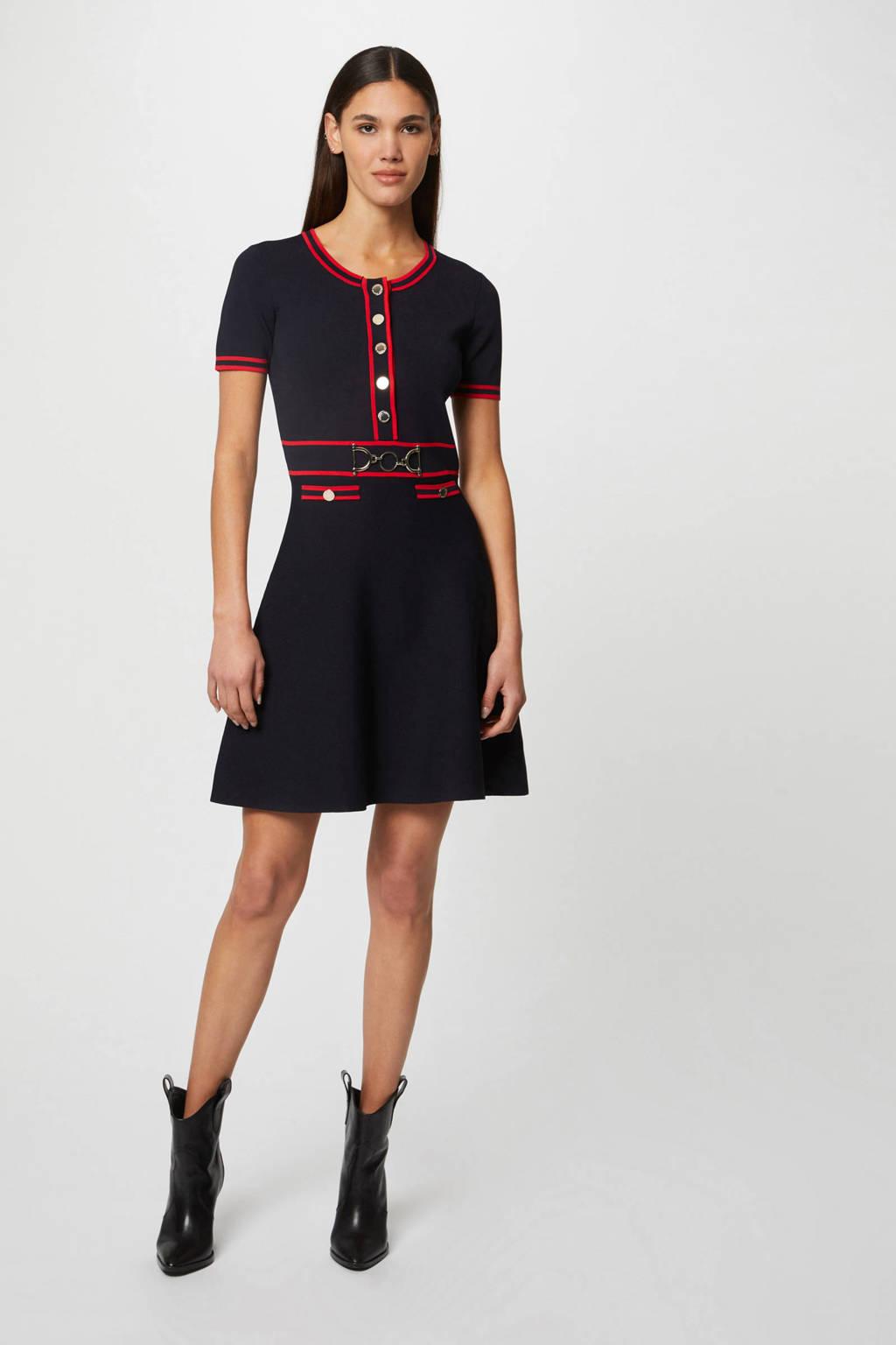 Morgan gebreide jurk marine/rood, Marine/rood