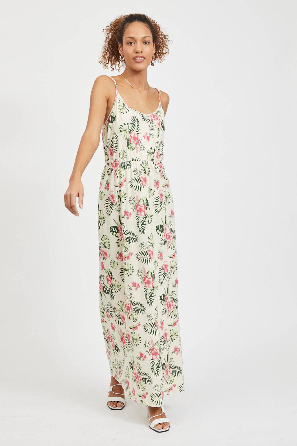 VILA maxi jurk VIPURE met bladprint ecru/groen/roze, Ecru/groen/roze