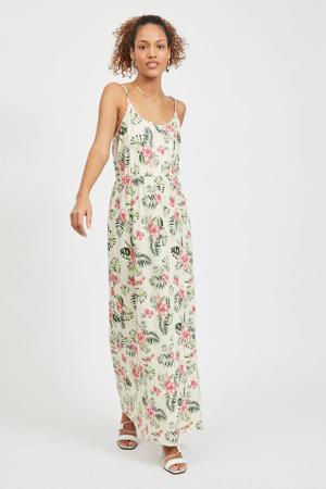 maxi jurk VIPURE met bladprint ecru/groen/roze