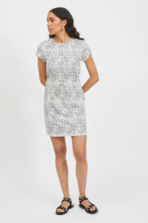 jurk VIPURE met all over print ecru/zwart