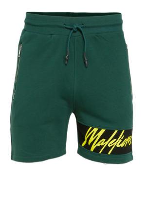slim fit sweatshort met logo groen