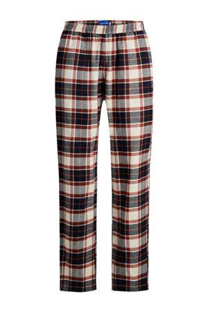 geruite pyjamabroek JACRIMON ecru/donkerblauw/rood