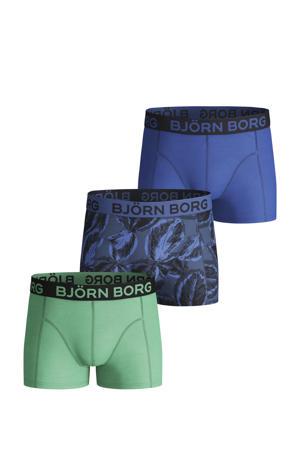 boxershort Leafy Sammy - set van 3 blauw/lichtgroen