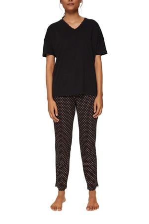 pyjama met all over print zwart