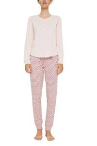 ESPRIT Women Bodywear pyjama met all over print lichtroze/roze, Lichtroze/roze