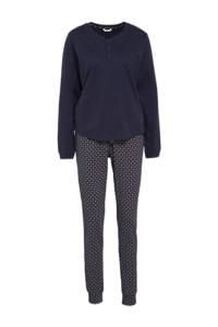 ESPRIT Women Bodywear pyjama met all over print donkerblauw, Donkerblauw