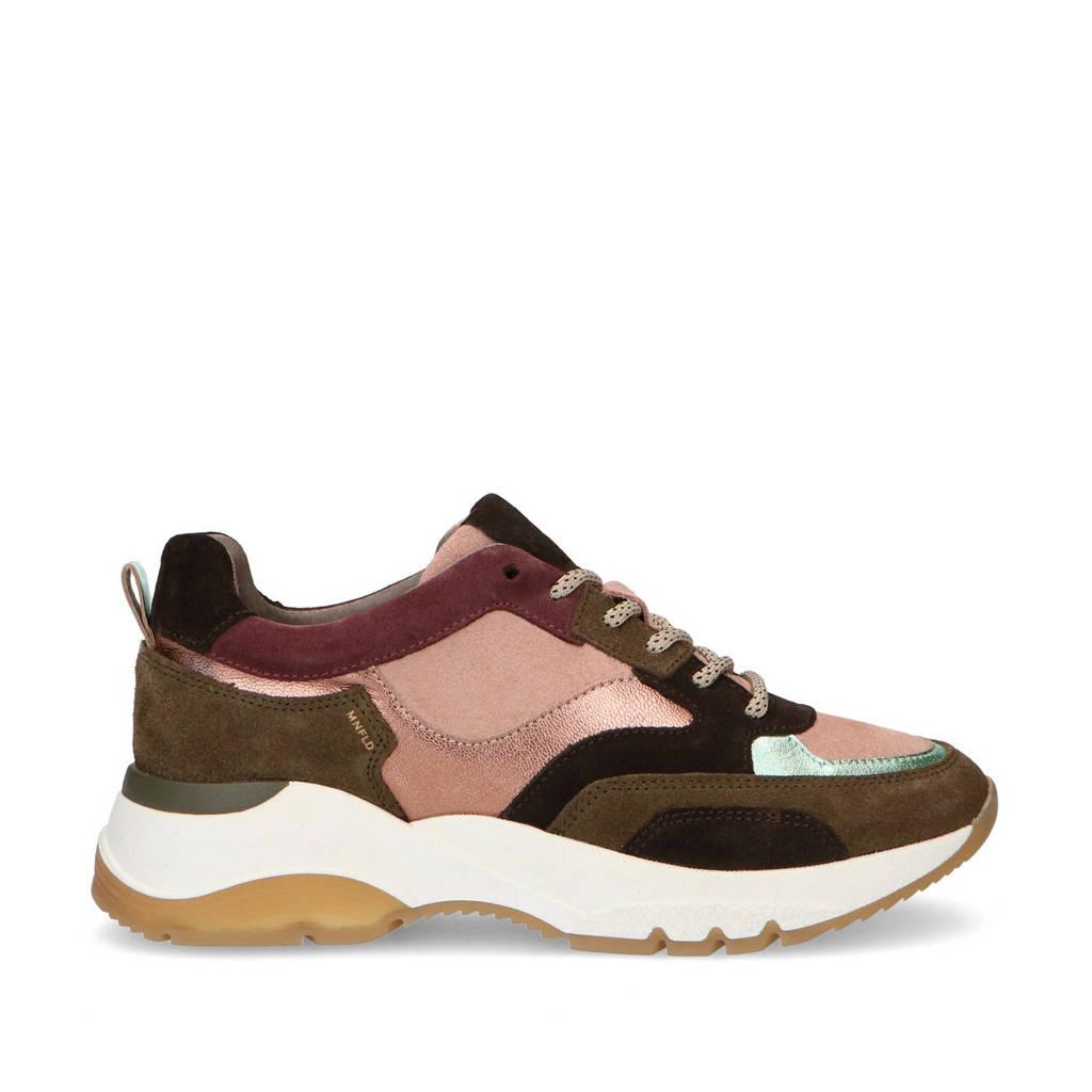 Manfield   leren chunky sneakers roze/kaki, Roze/Kaki/Multi
