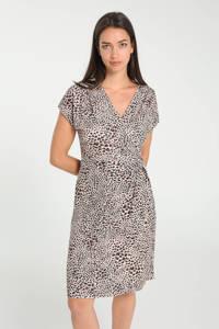 Cassis jurk met all over print en plooien beige/bruin/zwart, Beige/bruin/zwart