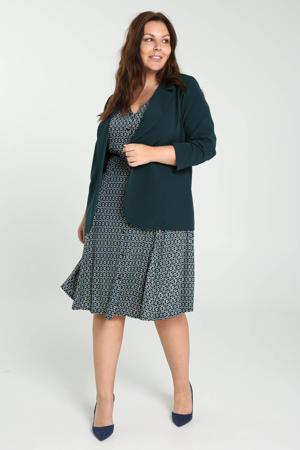 A-lijn jurk met all over print en plooien donkerblauw/groen/ecru