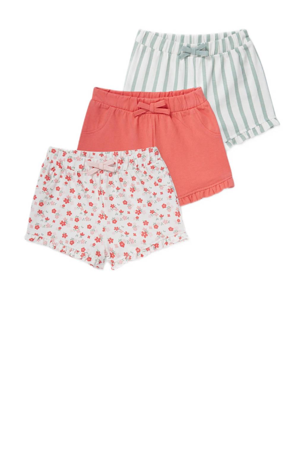 C&A Baby Club korte broek - set van 3 roze/koraalrood/groen/wit, Rroze/koraalrood/groen/wit