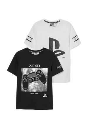 T-shirt - set van 2 zwart/wit
