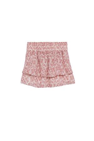 gebloemde rok roze/wit