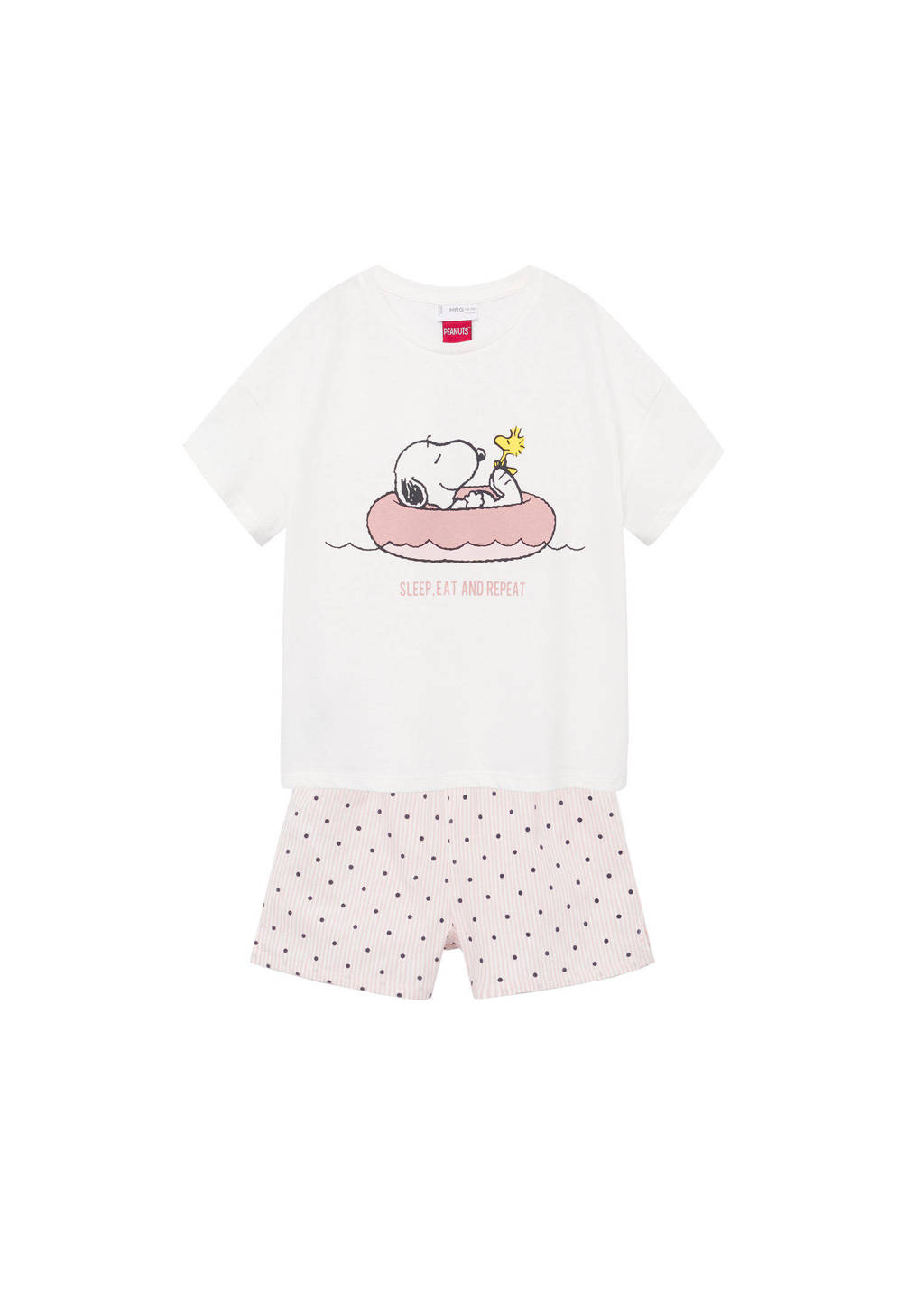 Mango Kids Snoopy shortama roze/naturel wit, Roze/naturel wit