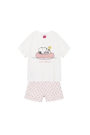 Snoopy shortama roze/naturel wit