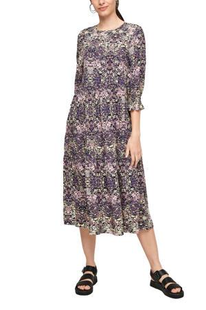 jurk met all over print en ruches paars/roze