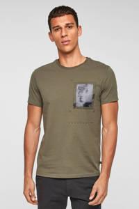 Q/S designed by regular fit shirt met printopdruk olijfgroen, Olijfgroen