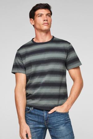 gestreept regular fit T-shirt donkerblauw