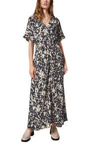 comma viscose maxi jurk met print zwart/beige, Zwart/beige