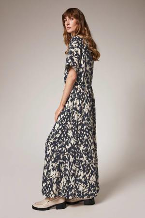 viscose maxi jurk met print zwart/beige