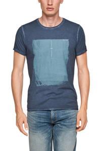 Q/S designed by slim fit T-shirt met printopdruk donkerblauw, Donkerblauw