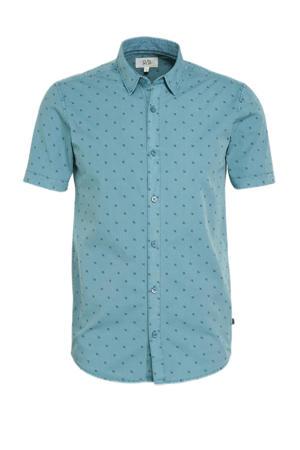 super slim fit overhemd met all over print blauw