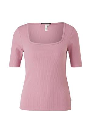 ribgebreide T-shirt roze