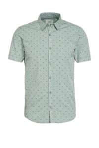 Q/S designed by super slim fit overhemd met all over print grijsgroen, Grijsgroen