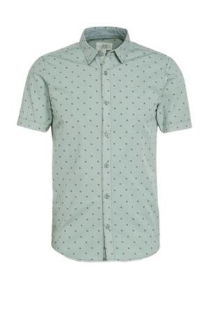 super slim fit overhemd met all over print grijsgroen
