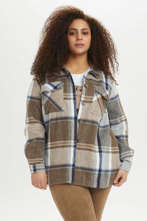 geruite jas KCtimoa  lichtbruin/bruin/wit/donkerblauw