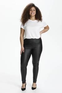 Kaffe Curve coated skinny legging KCadelen zwart, Zwart