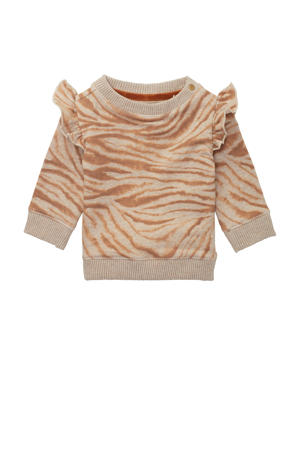 baby sweater Seabrook met all over print en ruches zand