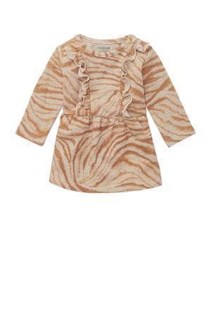 baby jurk Searcy met all over print en ruches zand/lichtbruin