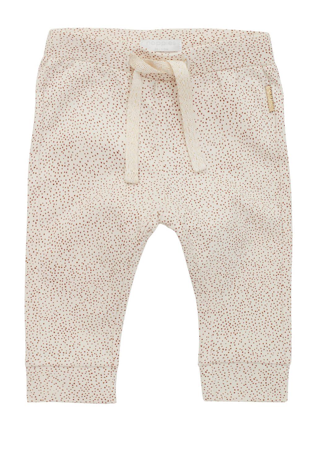 Noppies baby slim fit broek Seaside met all over print beige melange