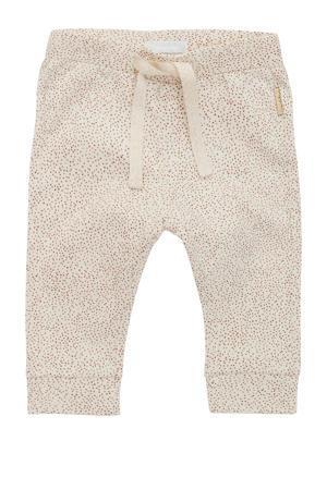 baby slim fit broek Seaside met all over print beige melange
