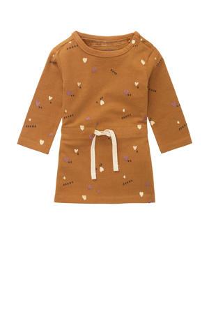 baby jurk Selden met all over print okergeel