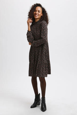 gebloemde jurk KAsally zwart/roze