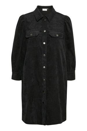 corduroy blousejurk KAluma met plooien zwart