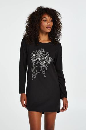 nachthemd met printopdruk zwart