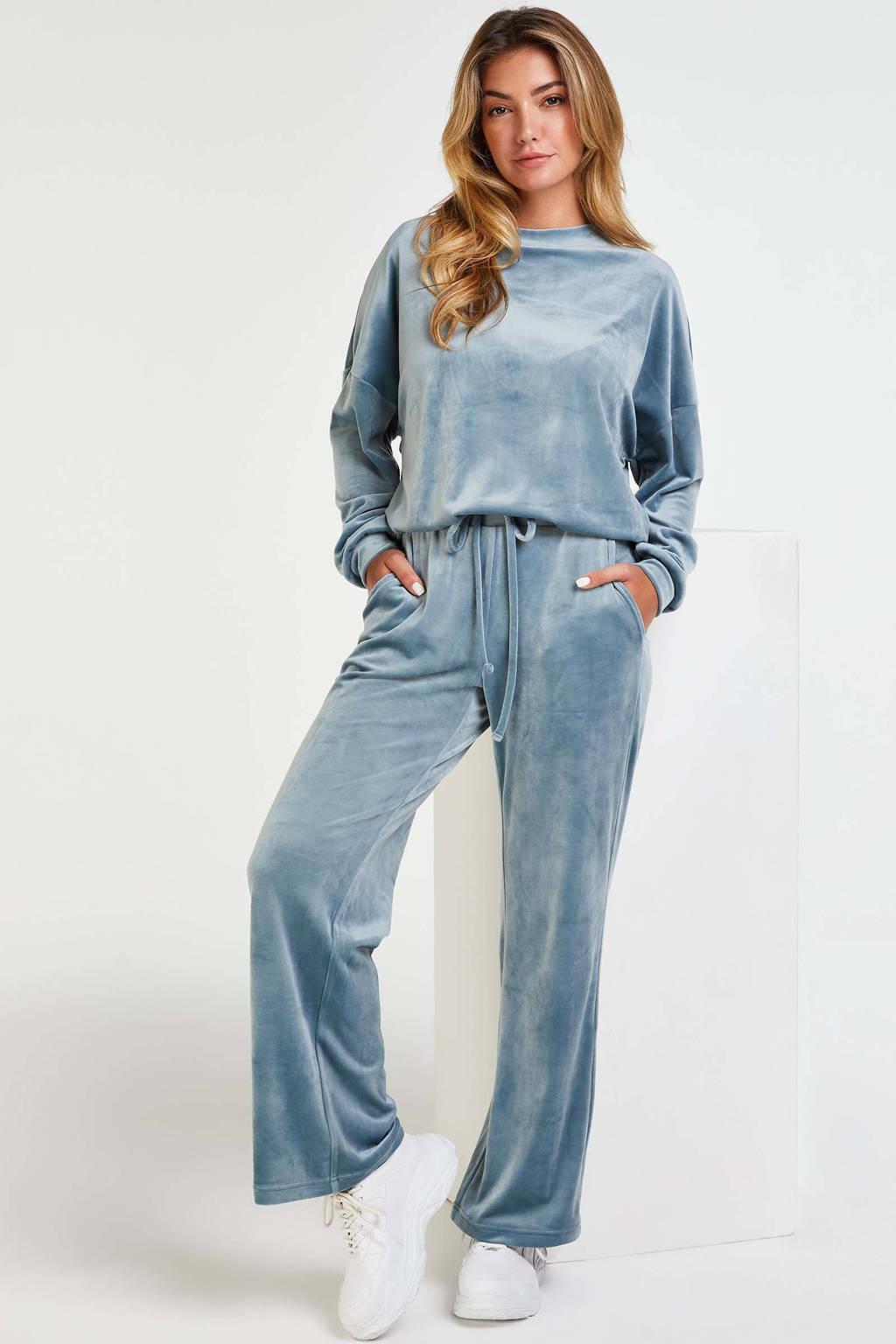 Hunkemöller velours sweater lichtblauw, Blauw