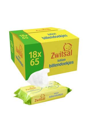Baby Billendoekjes Lotion Sensitive - 18 x 65 stuks - Voordeelverpakking